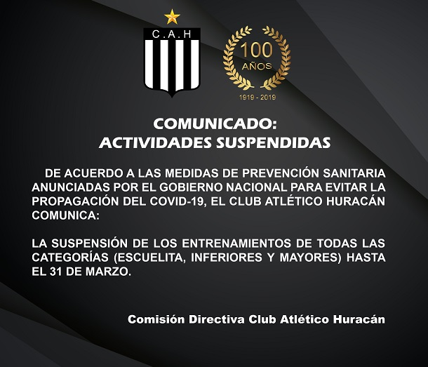 Suspensión de las actividades hasta el 31 de marzo en el Club Huracán