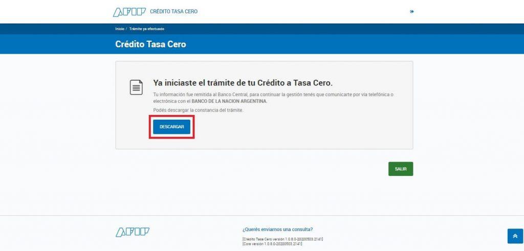 AFIP | Crédito a tasa cero - Paso 9