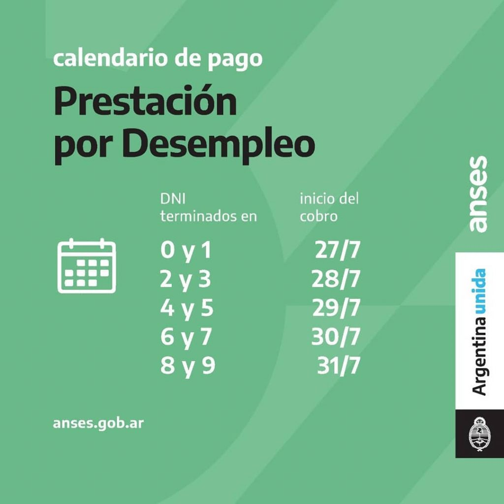 Calendario de Pago Desempleo