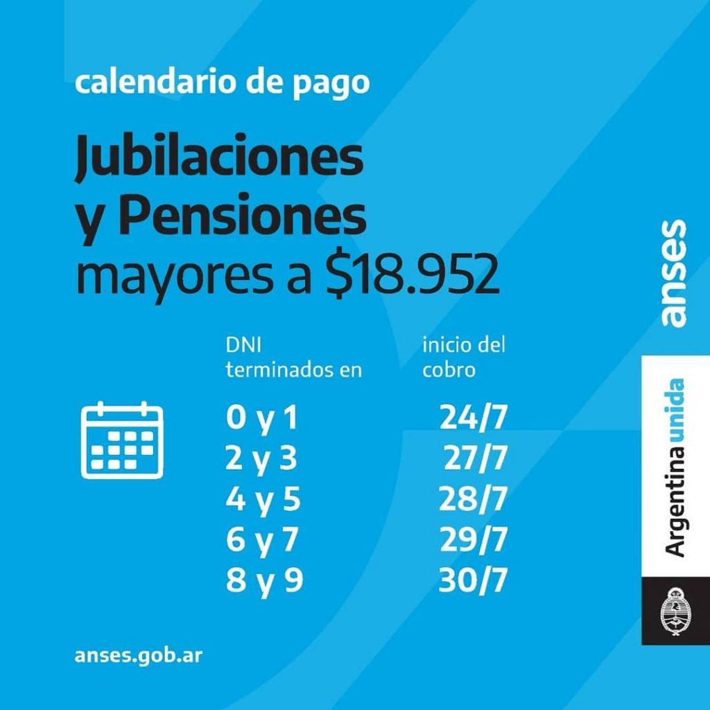 Calendario de Pago Jubilaciones y pensiones mayores a $18.951