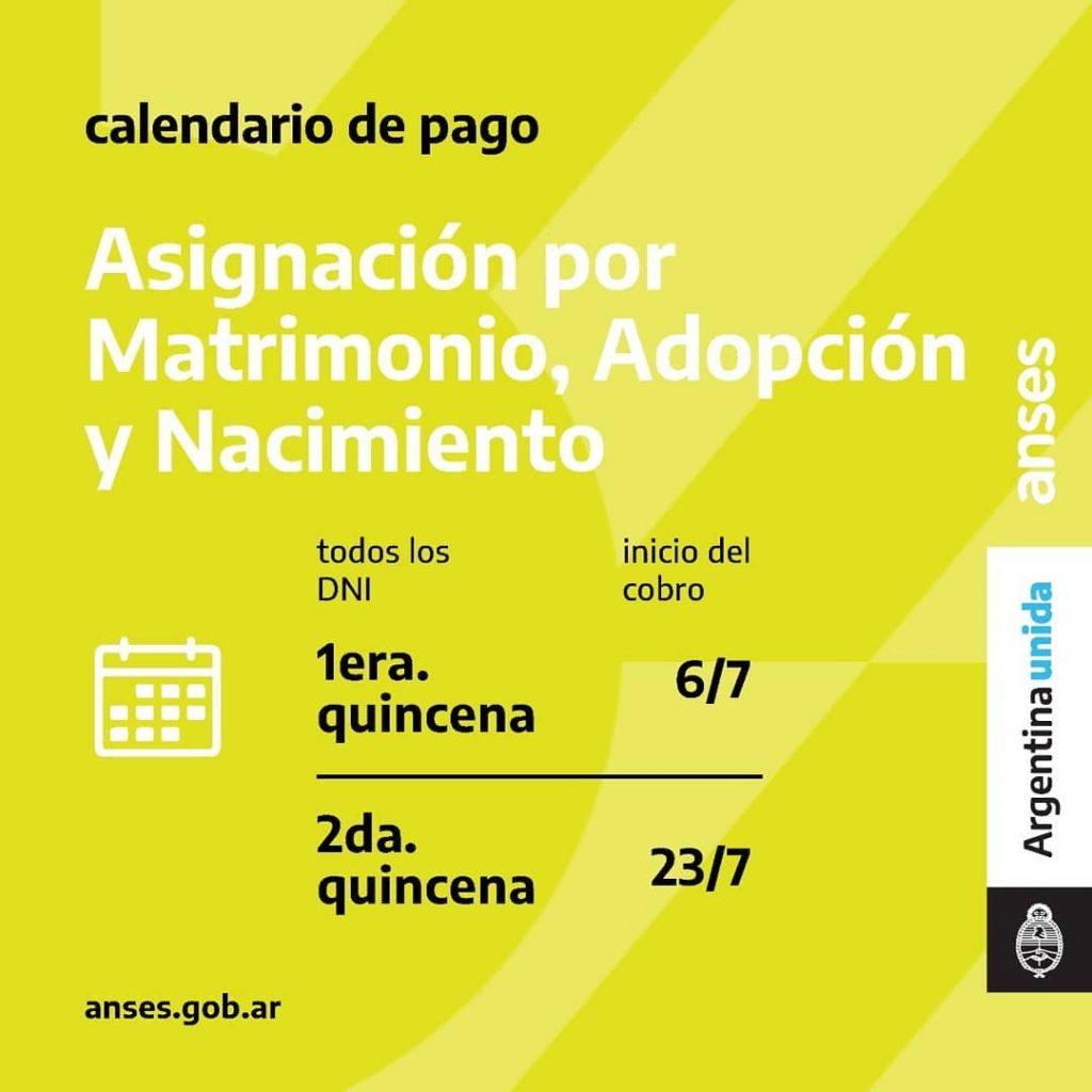 Calendario de Pago - Matrimonio, adopción y Nacimiento