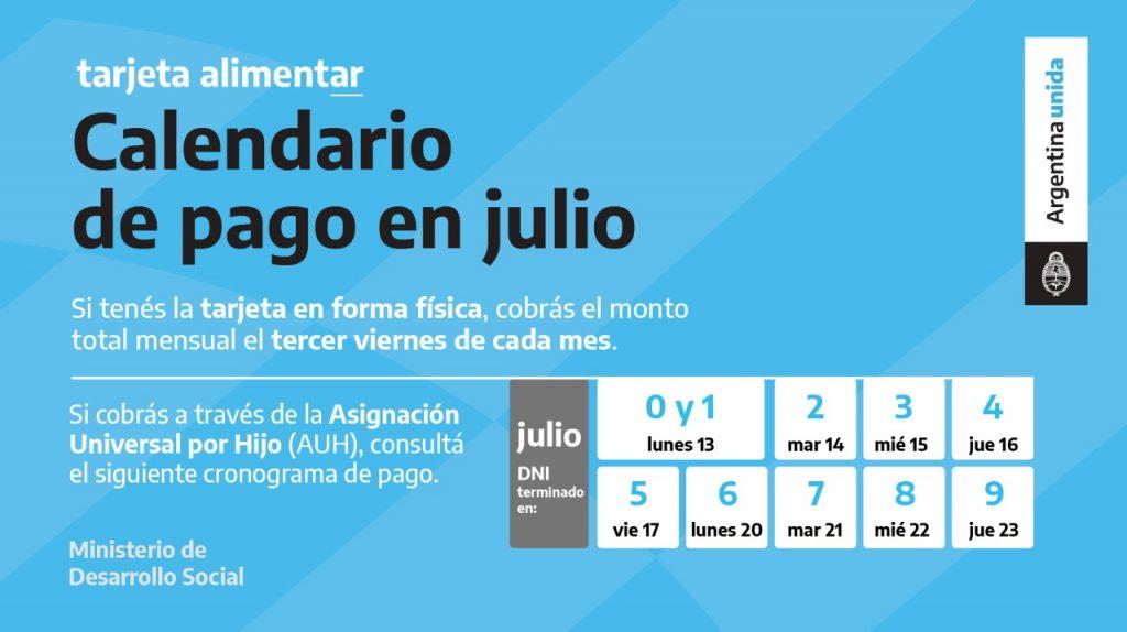 Calendario de pago Tarjeta Alimentar en Julio 2020