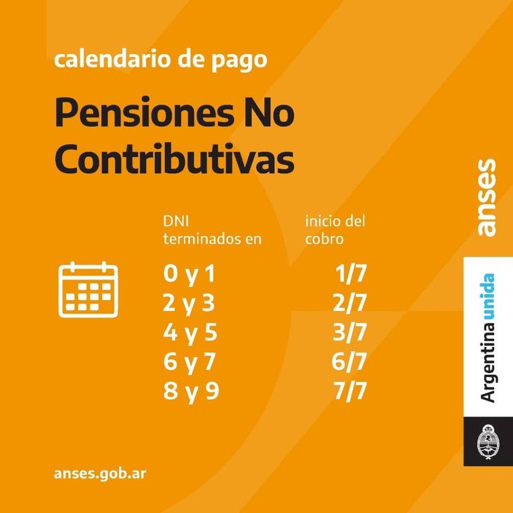 Calendario de Pago - Pensiones No Contributivas