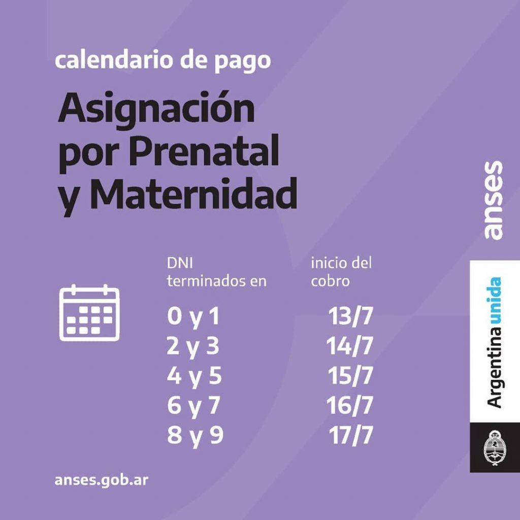 Calendario de Pago - Asignación Prenatal y Maternidad