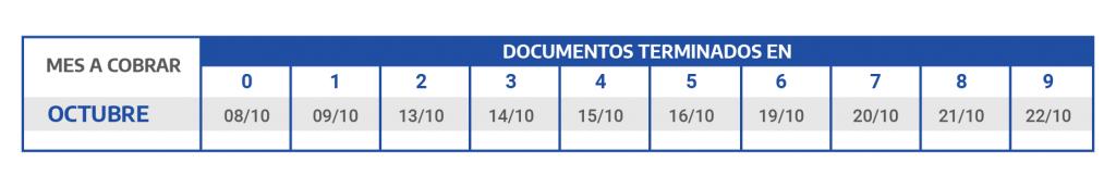 CALENDARIO DE PAGOS OCTUBRE Asignacion Universal por Hijo y Asignacion Familiar por Hijo