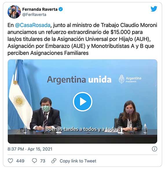 Tweet de Fernanda Raverta sobre el bono de $15.000